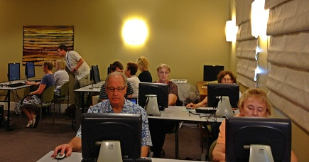 Figure 3. Participants undertaking computerised tasks as part of the Brain Training Lab.